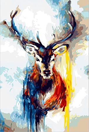 Golden Maple Diy Pre Printed Canvas Oil Painting Gift Adults Kids Paint Number Kits Home Decorations Nine Colored Deer 16 20 Inch