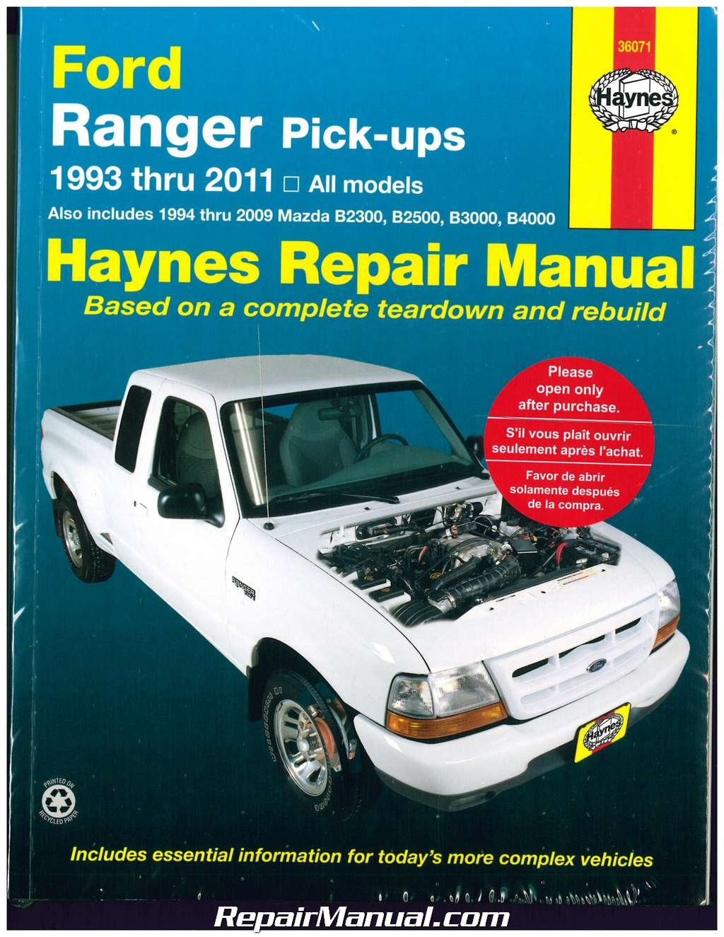 H36071 Haynes Ford Ranger Pickups 1993-2011 Repair Manual: Manufacturer:  Amazon.com: Books
