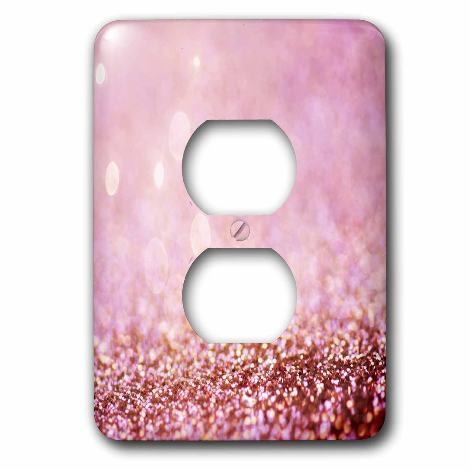 3dRose LSP_272846_6 Sparkling Rose Gold Pink Luxury Shine Girly Elegant Mermaid Glitter Plug Outlet Cover,