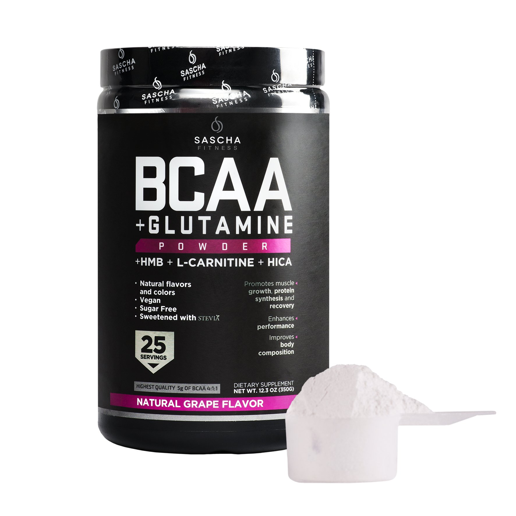 Sascha Fitness BCAA 4:1:1 + Glutamine, HMB, L-Carnitine, HICA | Powerful and Instant Powder Blend with Branched Chain Amino Acids (BCAAs) for Pre, Intra and Post-Workout | Natural Grape Flavor, 350g by SASCHA FITNESS (Image #2)