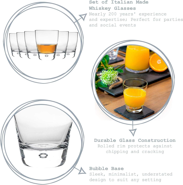 Confezione da 6 Bormioli Rocco Luna Chiaro bolla di vetro Base Tumblers potabile 260ml