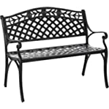 Outsunny 2-Seater Aluminum Garden Bench Outdoor Loveseat Chair for Outdoor, Patio, Yard, Lawn with Floral Pattern