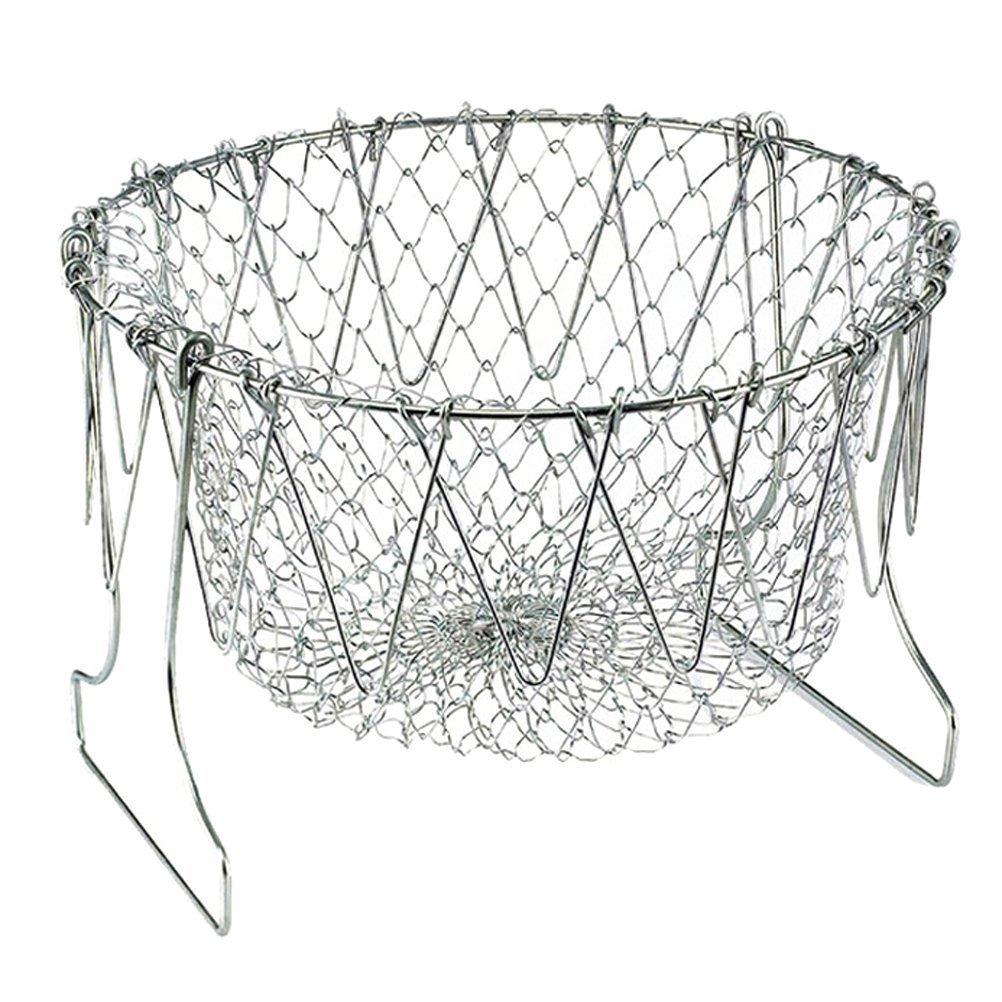 OUNONA Fryer Deep Frying Basket: Stainless Steel Non Stick Chip Pan Set Mesh Fruit Strainer