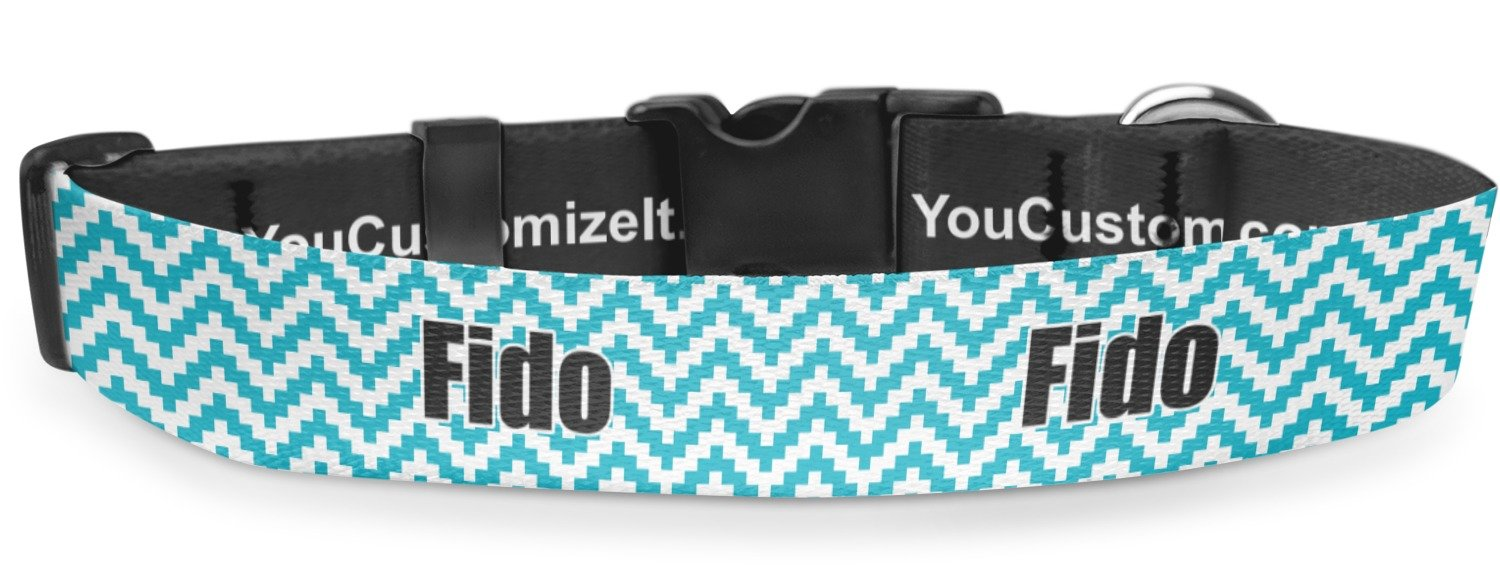 RNK Shops Pixelated Chevron Deluxe Dog Collar - Toy (6'' to 8.5'') (Personalized)