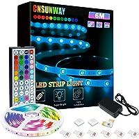 6m ledstrip, CNSUNWAY RGB ledstrip met 44 toetsen IR-afstandsbediening, ledstrip 5050 kleur veranderende led…