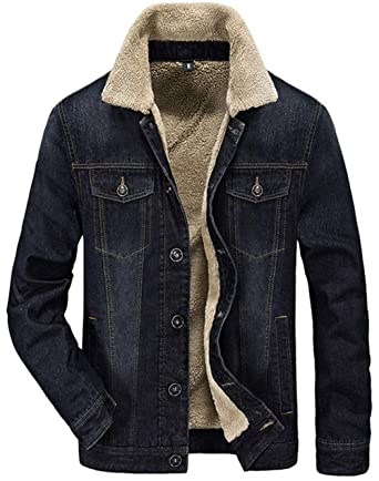 4b6e6713bef XinDao Men s Fleeced Denim Jacket Winter Fall Warm Cowboy Coat Outerwear  Parka Black US XS