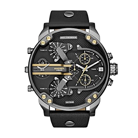c851d7a9cc80 Amazon.com  Diesel Men s Mr Daddy 2.0 Quartz Stainless Steel and Leather  Chronograph Watch