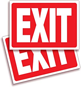 Exit Signs Stickers – 2 Pack 10x7 Inch – Premium Self-Adhesive Vinyl, Laminated for Ultimate UV, Weather, Scratch, Water and Fade Resistance, Indoor and Outdoor