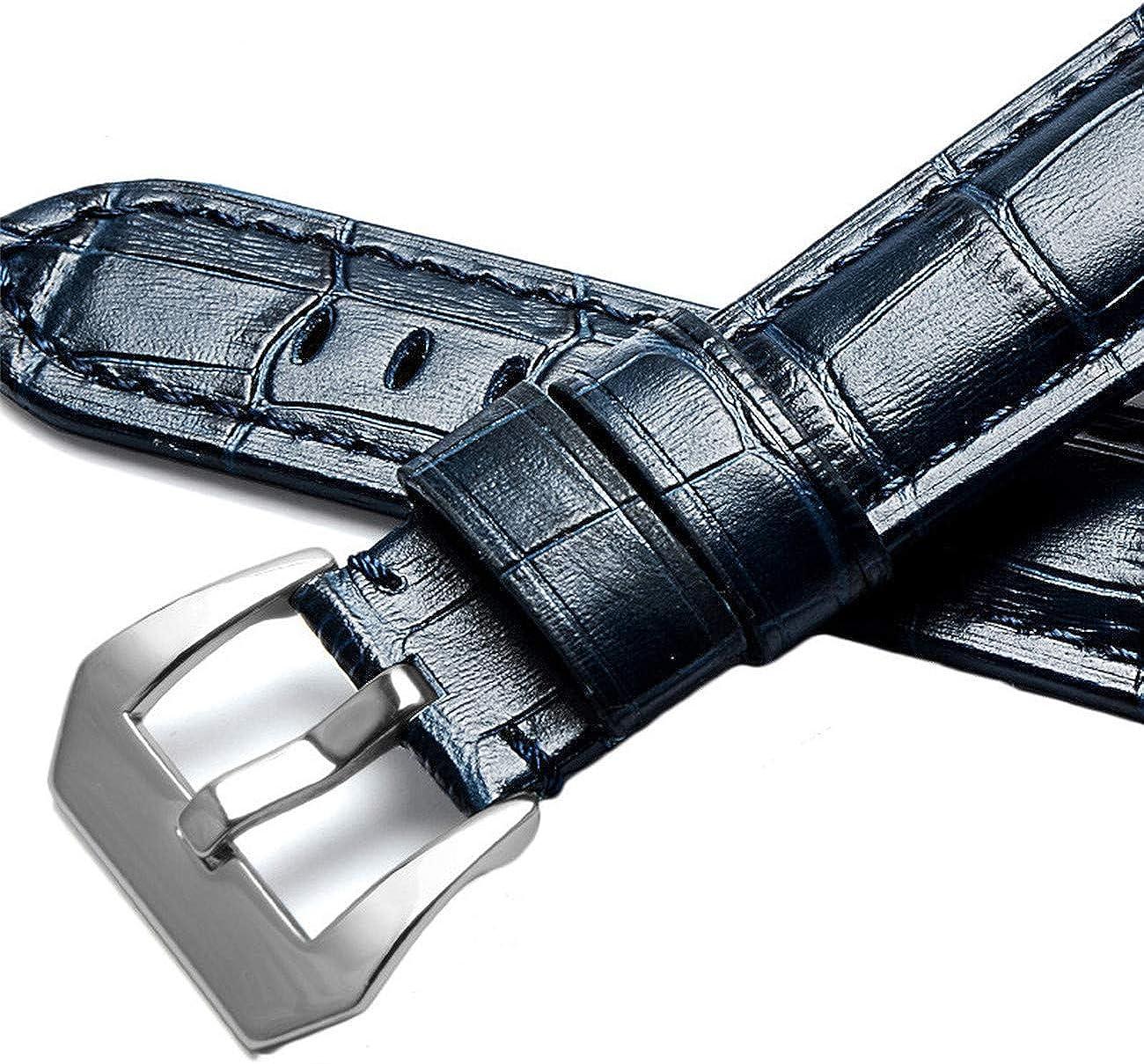 22mm 24mm 26mm Hommes Remplacement Bracelet De Montre pour Bracelet De Montre en Cuir Bleu Bracelets Blue Silver