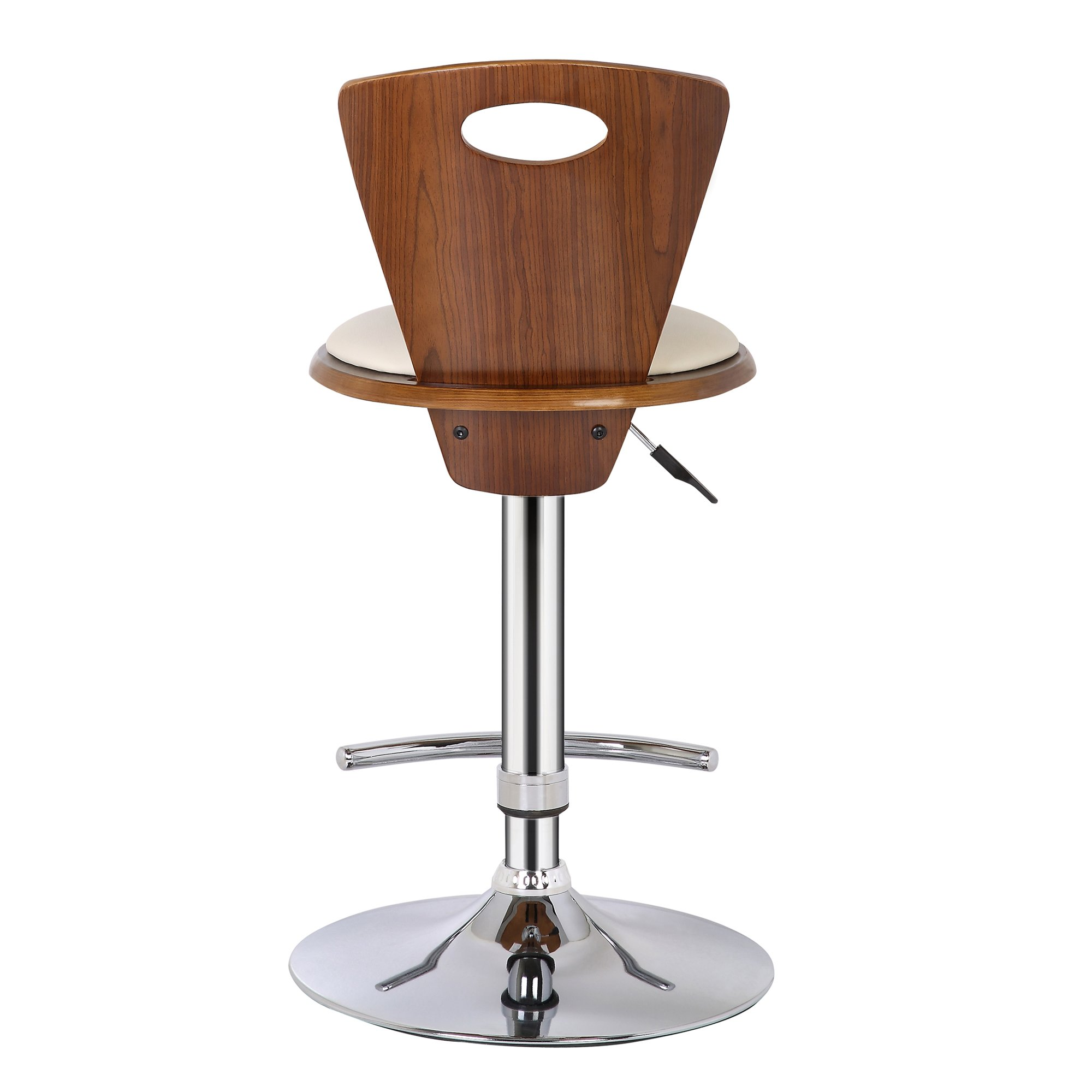 Armen Living LCSEBACRWA Seattle Barstool in Cream Faux Leather, Walnut Wood and Chrome Finish by Armen Living (Image #3)