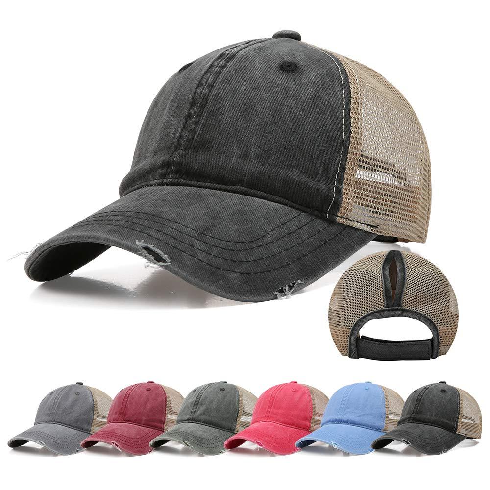 Doannotium Ponytail Baseball Cap Women Retro Washed Cotton Visor Dad Hat Adjustable Trucker Ponycaps (Black)