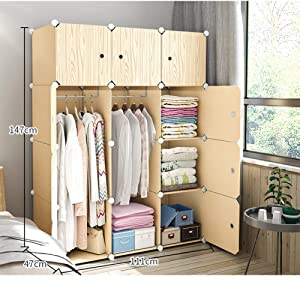 XHCP Wardrobe Armoire Closets for Bedroom, Portable Resin Wood Pattern Armoire Modular Cabinet Dresser Cubby Shelving Unit for Hanging Clothes-c L44xw19xh58 Inch
