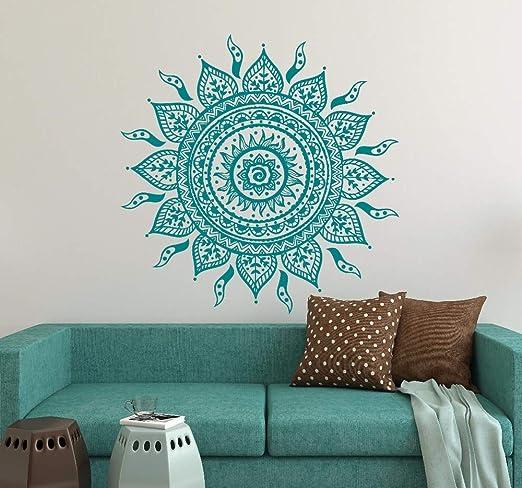 ziweipp Gran tamaño Mandala Flores Yoga Etiqueta de la Pared ...