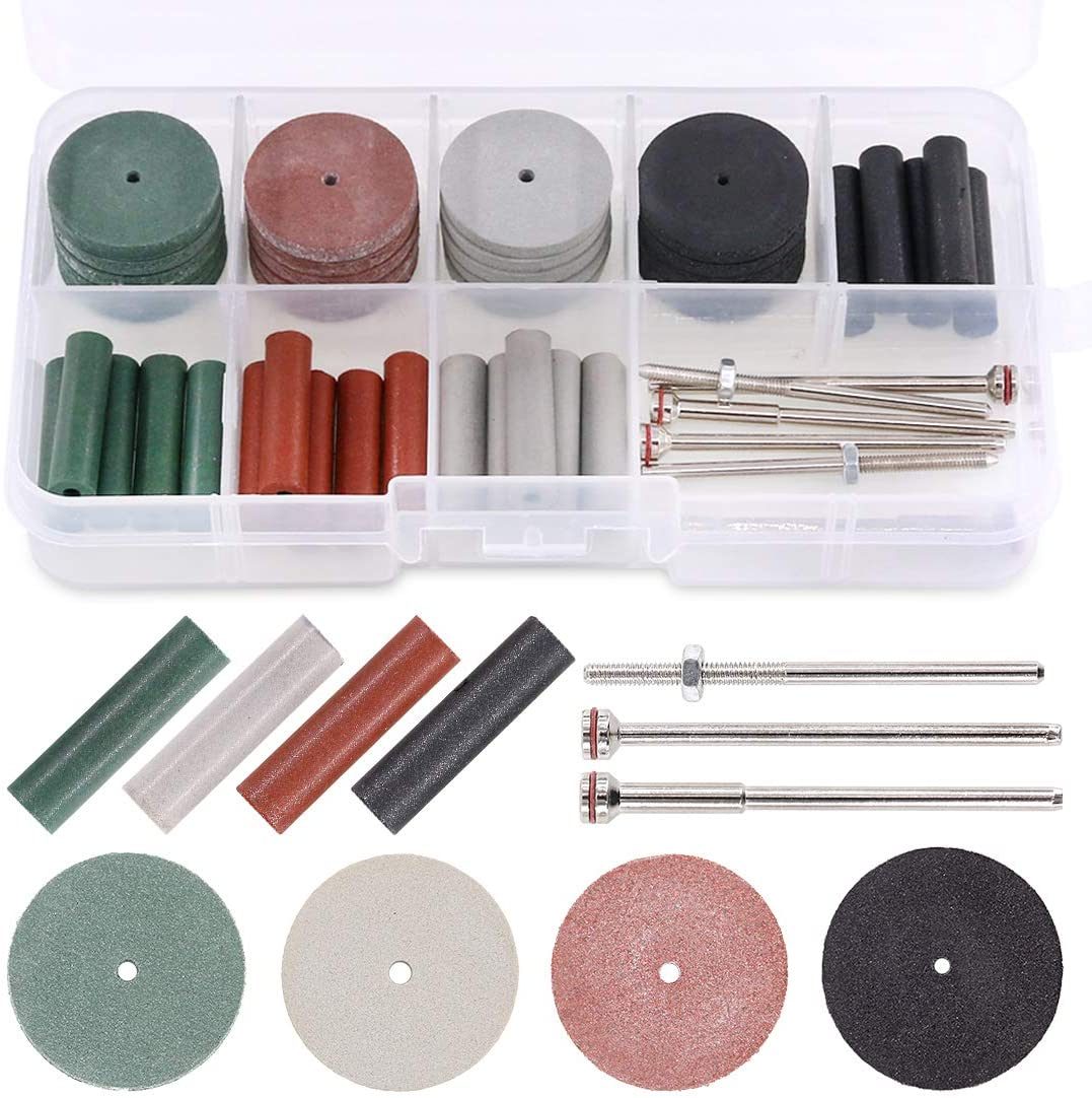 Utoolmart Diameter 16 Handle 6 Pointed Rubber Grinding Elastic Foam Sesame Sponge Rubber Polishing Head Grinding Wheel Metal Polishing Rust Rotary Tools 15Pcs