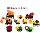 US1984 Pull Back Vehicles, Mini Push Pull Back Car, 10 Pcs Assorted Construction Vehicles Toys, Kids Pull Back Racer Cars Toy Play Set, Vehicle Play Set for Children for Fun