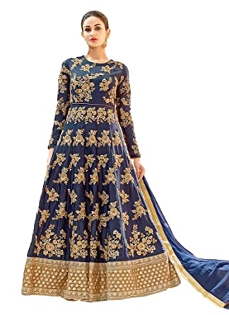 eea232766f Amazon.com: Ethnicwear Blue Art Silk Beautiful Party Wedding Wear  Embroidered Patch Work Floor Length Anarkali Salwar Suit: Clothing