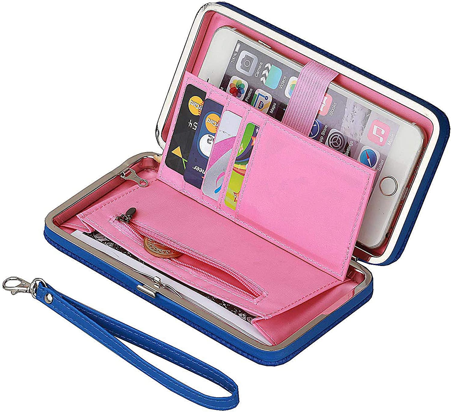 Litchi Prints Phone Wallet Case for Women Bow Leather Long Clutch Wallet Purse for 6 inch Cellphone Card Wristlet Handbag