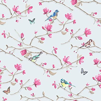 Blue Pink Flower Floral Birds Butterfly Wallpaper Paste The Wall