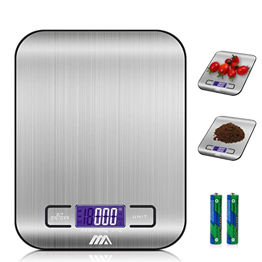 Adoric Báscula Digital para Cocina de Acero Inoxidable, 5kg / 11 lbs, Balanza de Alimentos Multifuncional, Peso de Cocina, Color Plata (Baterías ...