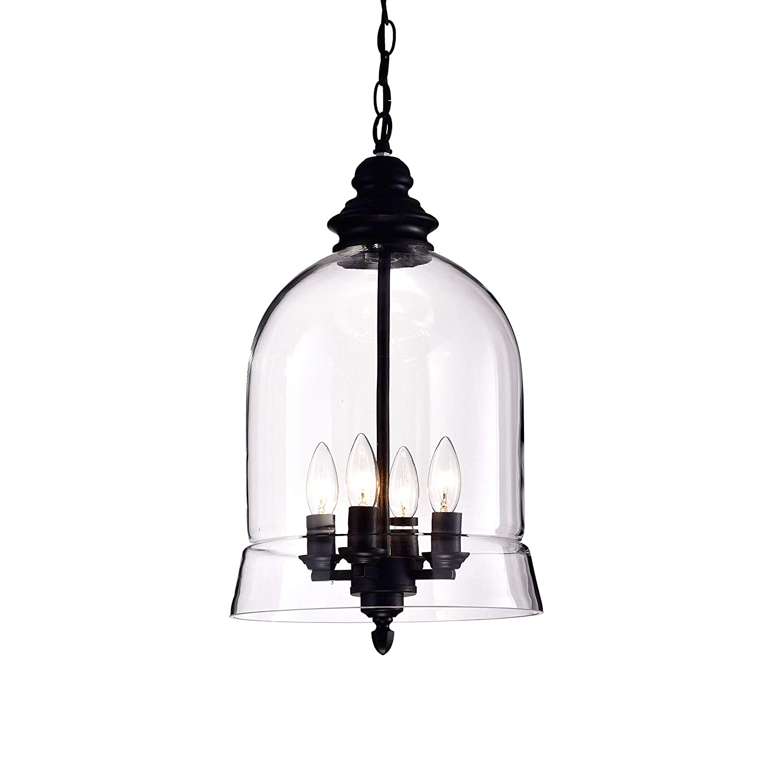 sale retailer 5c691 6041e Jojospring Yamila Black/Clear Glass Lantern Pendant Chandelier