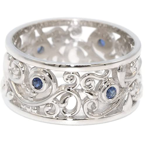 Amazon Com Wide Wedding Band 14k White Gold Natural Blue Sapphires