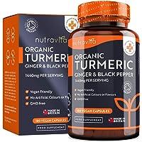 Curcumina 1440 mg estratta da Curcuma Biologica con Pepe nero e Zenzero - 180 capsule di curcuma vegana ad alto potenziale (fornitura per 3 mesi) - Prodotte nel Regno Unito da Nutravita