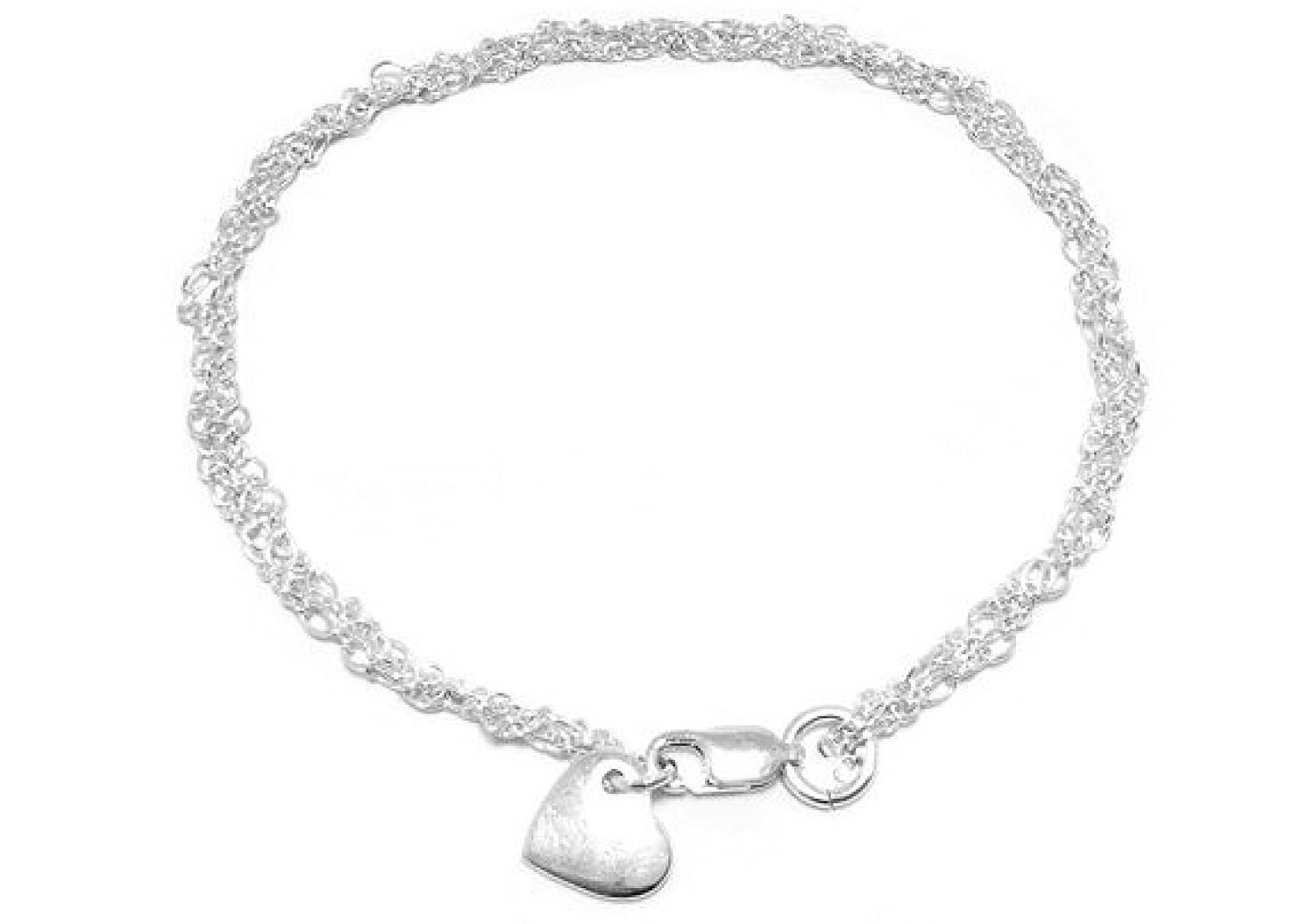 Womens 925 Sterling Silver bracelet Minimalist bracelet Flat heart charm bracelet for girls multistrand dainty silver bracelet for women