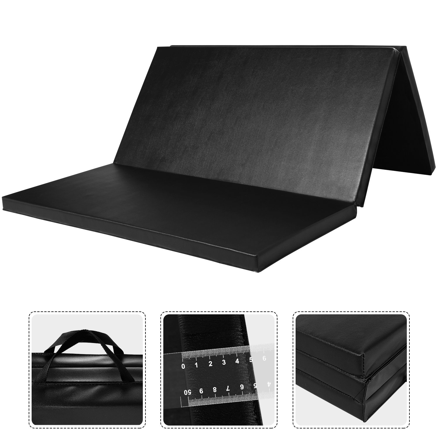 Leapair PU Leather Tri-Fold 2-Inch Thick Exercise  Pad, Black, 4 x 6 Feet