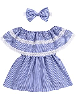 92c590b7cc1 Toddler Kids Girls Clothes Summer Off Shoulder Striped Ruffled Lace  Stitching Skirt Dress Outfits+Headband