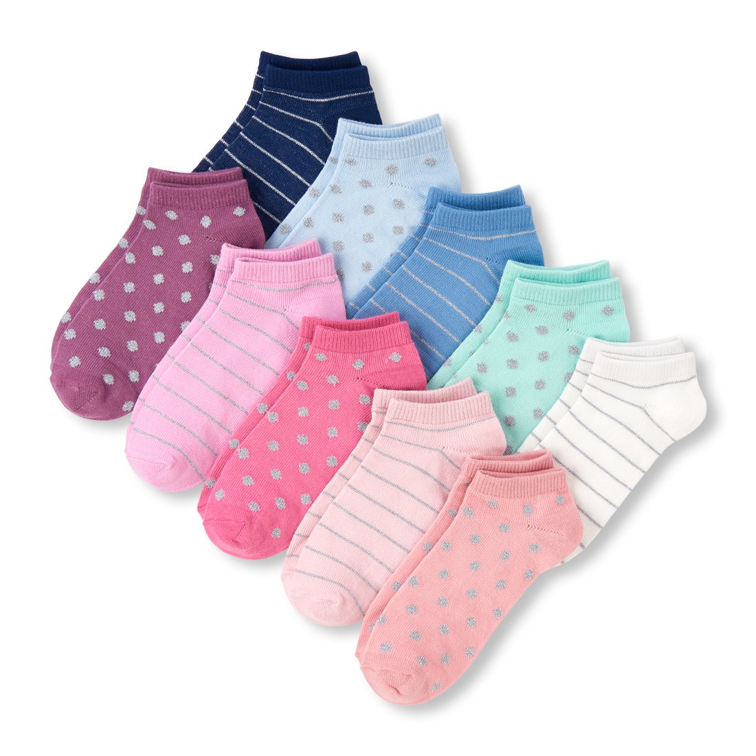 The Childrens Place Big Girls 10 Multipack Stripe and Dot Crew Socks