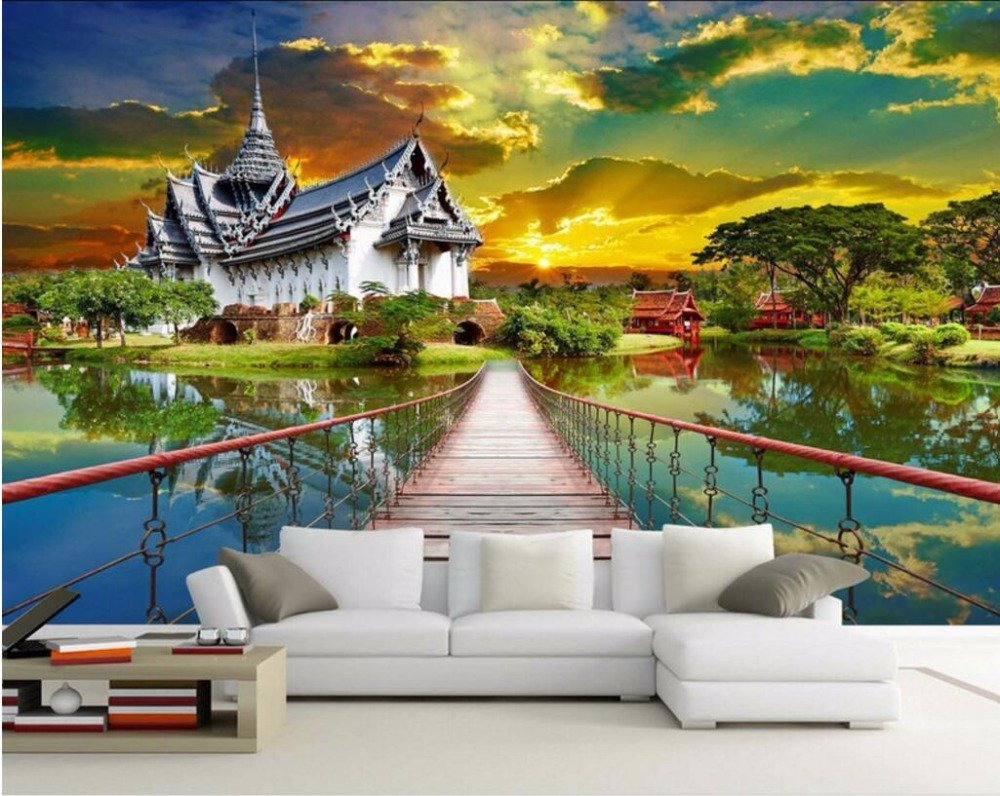 LWCX Custom Mural Photo 3D Wallpaper Thai Architectural Home Decoration Painting Picture 3D Wall Murals 430X280CM by LWCX