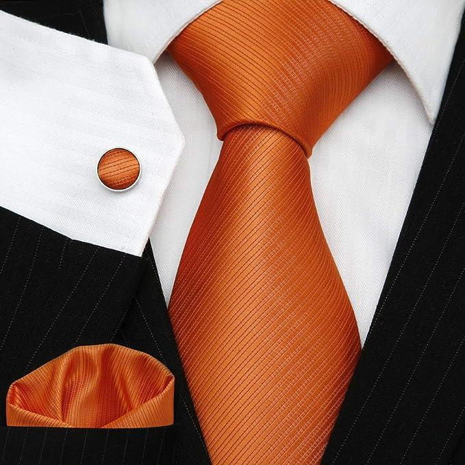 f6342c2b0755 TNS Solid Orange Wedding Ties Set - Cufflinks Hanky(Size: 3 X 59 ): Amazon. co.uk: Clothing