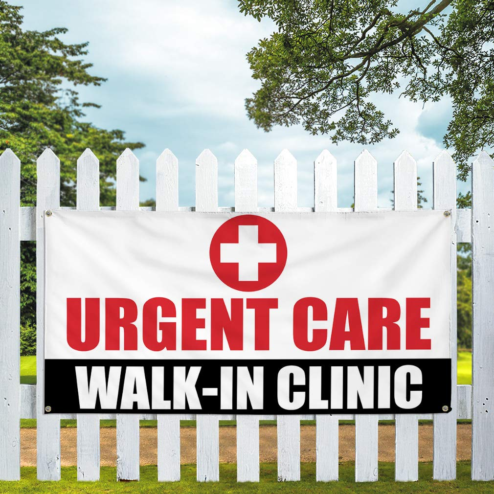 Multiple Sizes Available 28inx70in Vinyl Banner Sign Urgent Care Walk-in-Clinic Health Care Marketing Advertising White Set of 2 4 Grommets