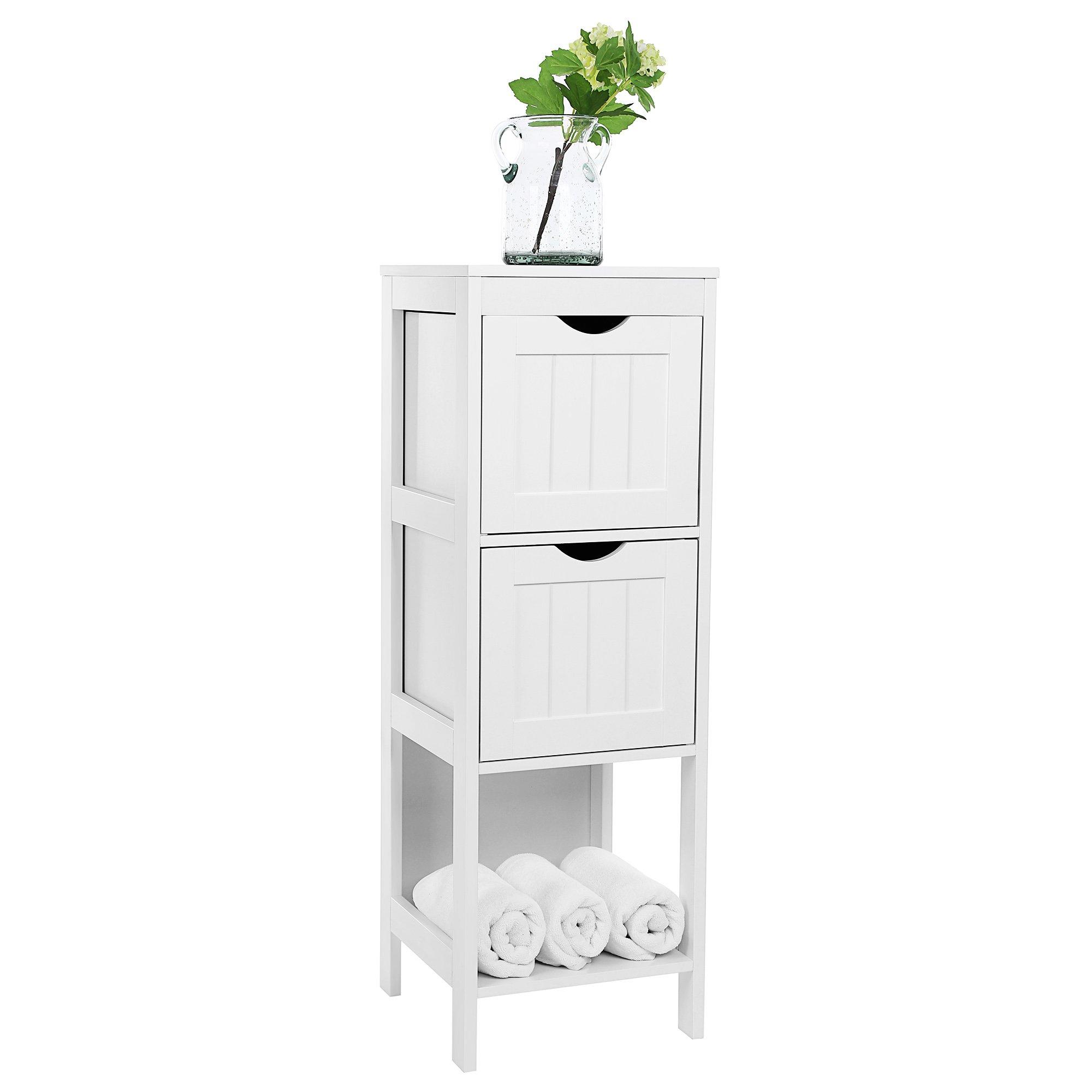 VASAGLE UBBC42WT Floor Cabinet Multifunctional Bathroom Storage Organizer Rack Stand, 2 Drawers, White