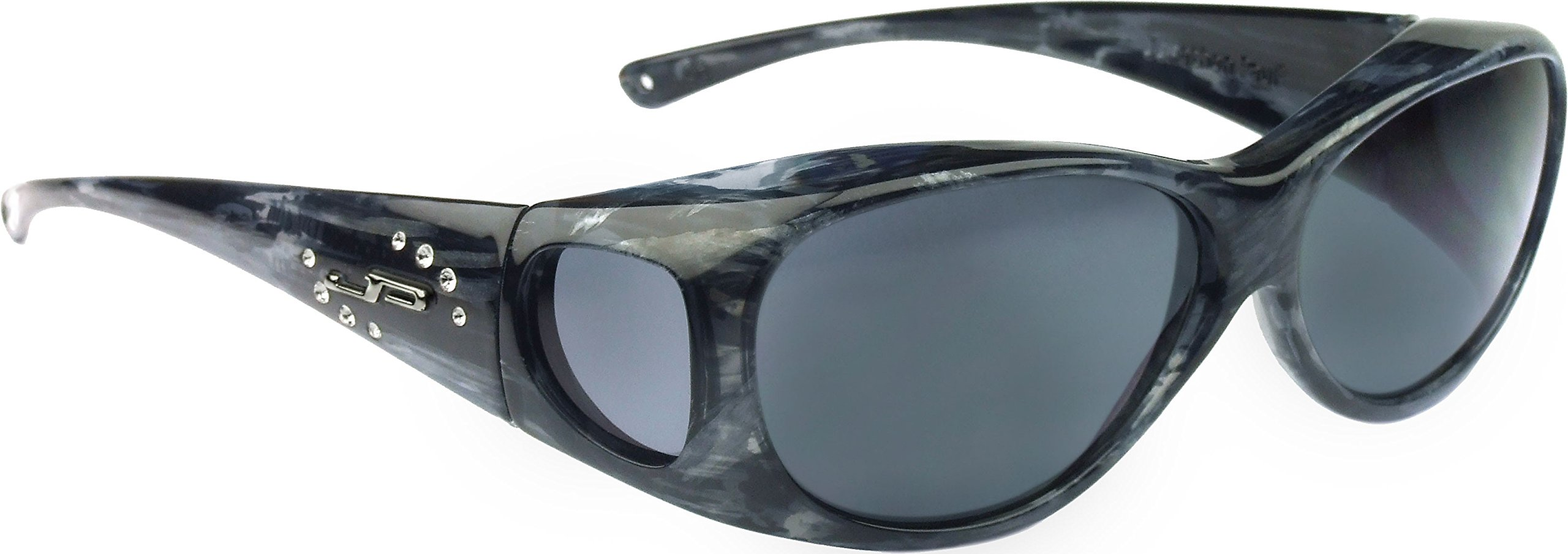 Fitovers Eyewear - Lotus Collection Designed to Fit Over Medium Oval Frames Not Exceeding 141mm X 40mm - Smoke Marble/polarized Grey