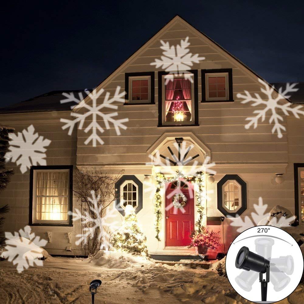 LED Projektionslampe, LED Projektor Schneeflocke Weihnachtsdeko im Garten, IP65 wasserdicht Gartenleuchte außen Gartenstrahler Weihnachten Landschaftslampe Spotlicht Dekoration für draussen [Energieklasse A+] Yinuo Mirror LEDM004V