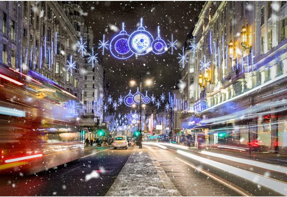 CSFOTO 10x8ft Christmas Backdrop Winter Snowing Night Street Christmas Eve Chirstmas Party Background for Photography New Year Party Supplies Kids Newborn Photo Booth Props