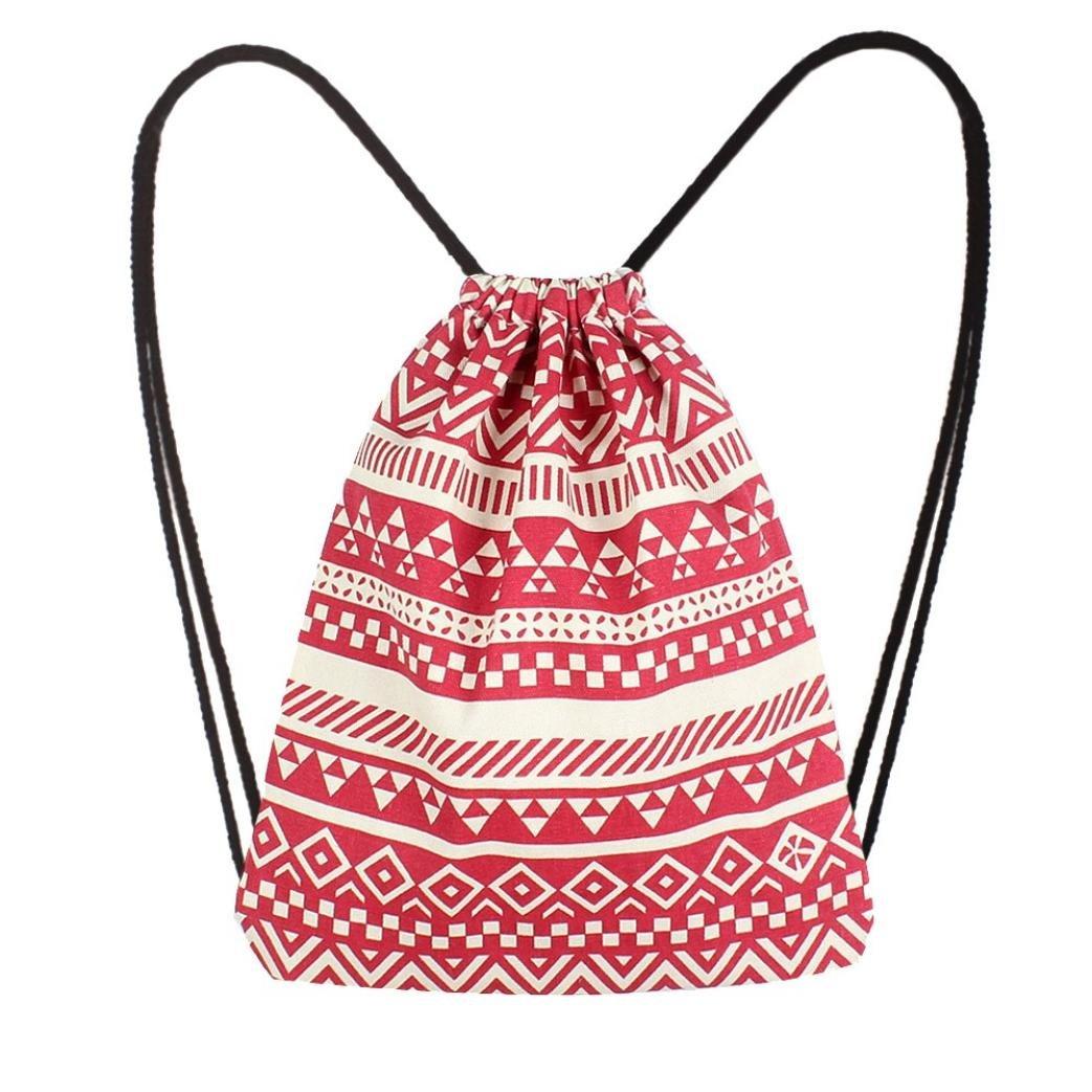 LiPing Canvas Ethnic Wind Pocket Kids backpack School Bag, Back to School Backpacks for Girls Boys Cute Backpacks Children's Backapck Bookbags (Red)