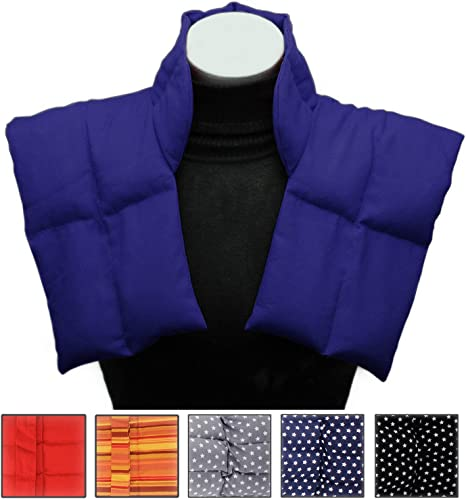 Heat Bag with Collar for Neck and Shoulders Blue-White Grain Pillow for Heating and Cooling Natural Wheat Cushion with Multi-Chamber System