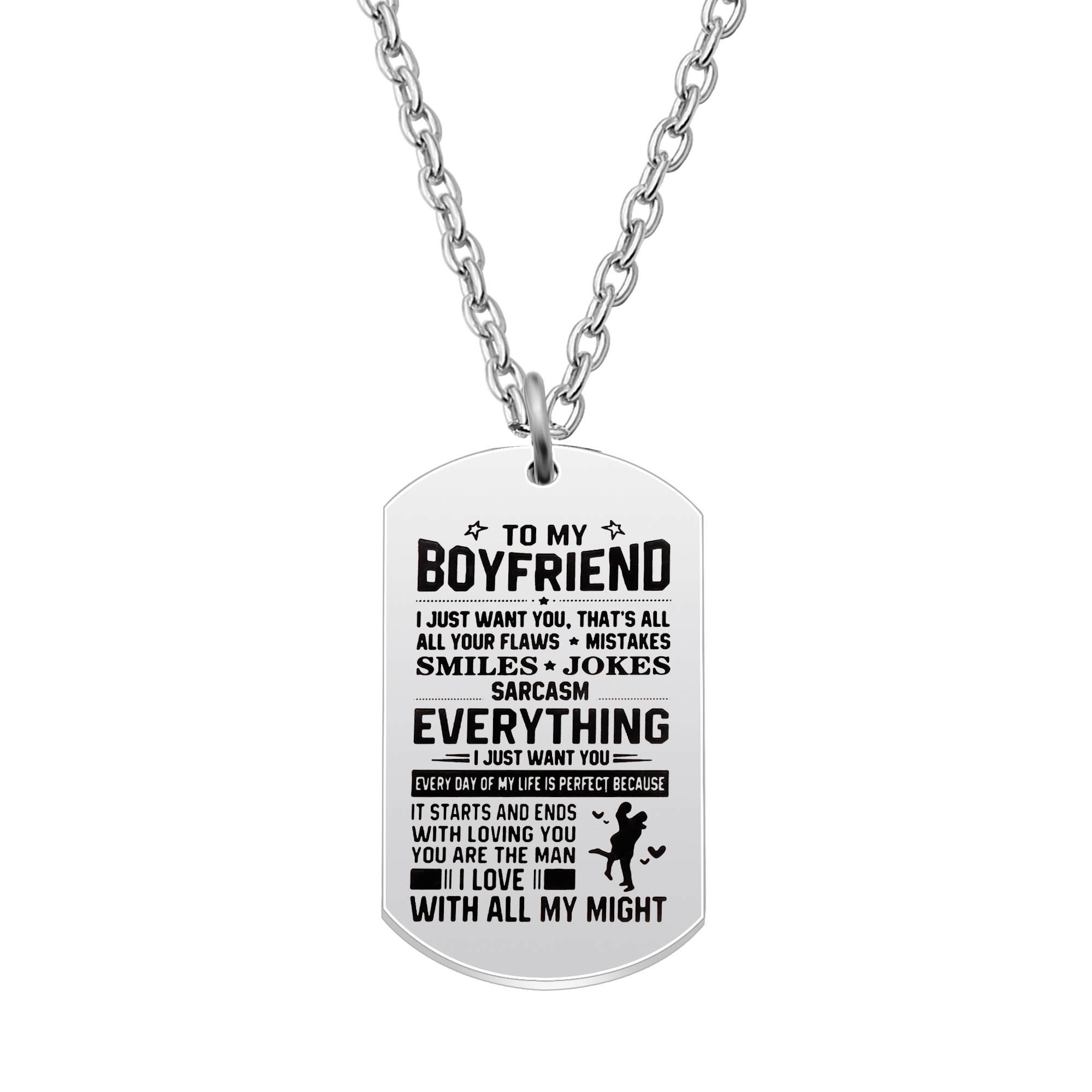 AGR8T Pendant Necklace Valentine Boyfriend Gift From Girlfriend - To My Boyfriend Everything I Just Want You by AGR8T (Image #1)