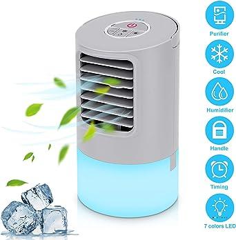 Aire Acondicionado Portátil Refrigeracion Mini Enfriador De Aire Silencioso Climatizador Evaporativo Ventilador Purificador Humidificador 7 Leds,3 Velocidades 2/4h ...