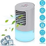 Aire Acondicionado Portátil Refrigeracion Mini Enfriador De Aire Silencioso Climatizador Evaporativo Ventilador Purificador Humidificador 7 Leds,3 Velocidades 2/4h Temporizador Para Coche Casa Oficina