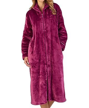 Slenderella Ladies Zip Up Collar Dressing Gown Luxury Thick Flannel Fleece  Bath Robe Small (Damson 6298876d7