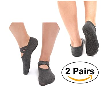 SANIQUE 2 pares Mujer Calcetines de yoga Pilates Calcetines Fitness/Danza/Ballet Calcetín Tamaño UK 2,5-7/EU 35-40 (Gris): Amazon.es: Deportes y aire libre