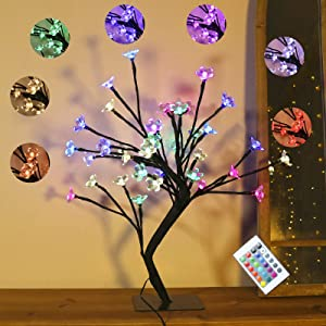 Table Cherry Blossoms Flower Tree Lamp,16Color Change 36 LED USB & Battery Powered Home Decor Girl's Gift for Mother's Day Christmas Night Light Warm Accompany Black Branches