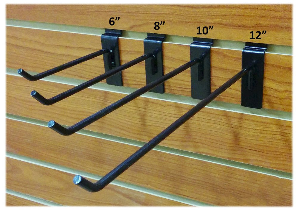 100 Black Assorted Slatwall Metal Hooks, Multi Size Hook Bundle - 6'', 8'', 10'' & 12'' - 25 Each
