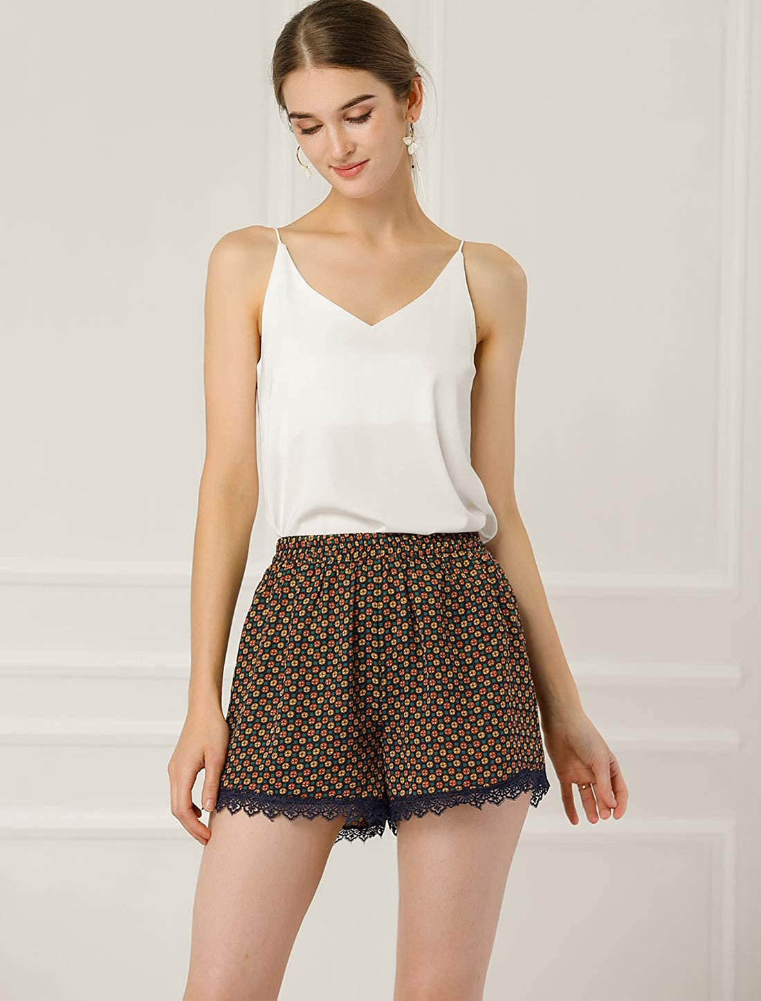 Allegra K Womens Summer Floral Printed Lace Trim Elastic Waist Beach Shorts
