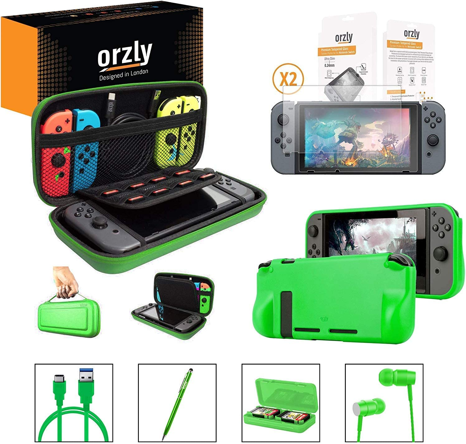 Orzly Switch Accessories Bundle – Includes Orzly Carry Case for Nintendo Switch Console, Tempered Glass Screen Protectors, USB Charging Cable, Switch Games Case, Comfort Grip Case & Headphones [Green]