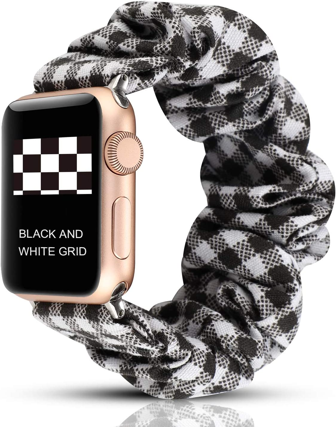 YOSWAN Scrunchie Elastic Watch Band Compatible for Apple Watch Band 38mm 42mm Women Girls Cloth Hair Rubber Band Strap Bracelet for iwatch SE Series 6 5 4 3 2 1 (Black and White Grid, 42mm/44mm)