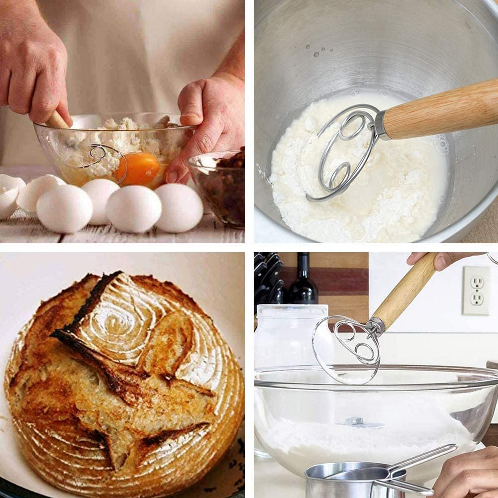 1 PC Verbesserte Holl/ändische Teig Schneebesen Brotmischer Zum Kochen in Der K/üche Backzubeh/ör U//A D/änischer Teig Schneebesen Edelstahl 12 Zoll Zwei Augen Hausgemachtes Brot